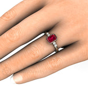 Emerald Ruby Engagement Ring on Finger Rare Earth Jewelry