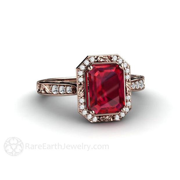 14K Rose Gold Emerald Cut Ruby and Diamond Halo Ring Art Nouveau Style Rare Earth Jewelry