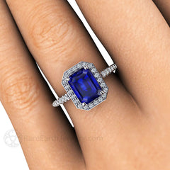 Emerald Blue Sapphire Halo Bridal Ring on Finger Rare Earth Jewelry