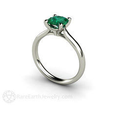 Rare Earth Jewelry Green Emerald Wedding Ring Round Cut Solitaire 14K or 18K Gold