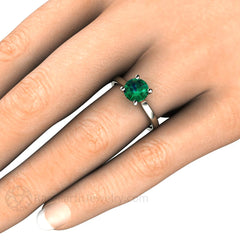 Rare Earth Jewelry Emerald Solitaire Right Hand Ring on Finger 14K