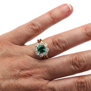Emerald Bridal Set on Finger Rare Earth Jewelry