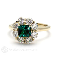 14K Emerald Wedding Ring with Moissanite Halo Claw Prong Setting Rare Earth Jewelry