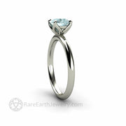 Engagement Ring with Blue Stone Flower Design Rare Earth Jewelry