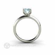 Engagement Ring with Petal Shaped Prongs Aquamarine Rare Earth Jewelry