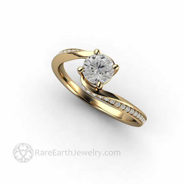 Custom Made Lab Grown Diamond Engagement Ring Solitaire in 14K Yellow Gold