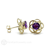 Rare Earth Jewelry Amethyst Post Stud Earrings Natural Round Cut Purple Gemstone 14K Gold