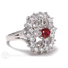 Ruby Art Deco July Birthstone Ring with Filigree and Diamond Accents 14K Gold Rare Earth Jewelry