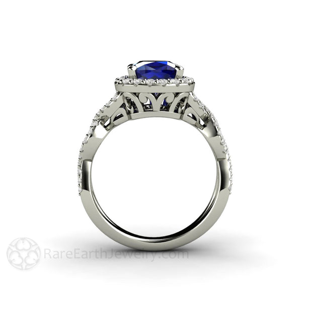 Rare Earth Jewelry Cushion Blue Sapphire Filigree Halo Ring 14K or 18K Gold