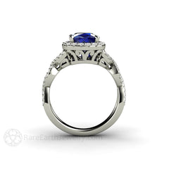 Cushion Blue Sapphire Filigree Halo Ring 14K or 18K Gold Rare Earth Jewelry