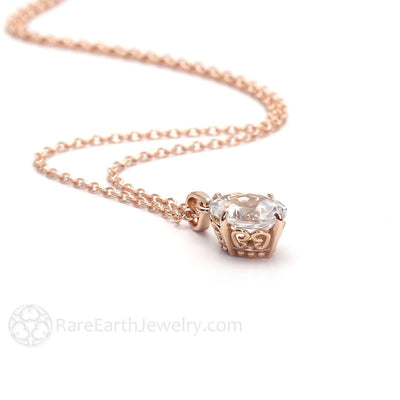 Rare Earth Jewelry Oval White Topaz Pendant Necklace with 18 Inch Chain 14K Gold Filigree Design April Birthstone