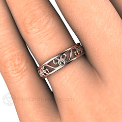 Rare Earth Jewelry Rose Gold Filigree Wedding Ring on Finger