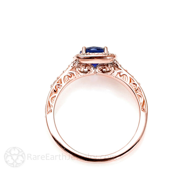 Rare Earth Jewelry Vintage Style Filigree Design Blue Sapphire Right Hand Ring