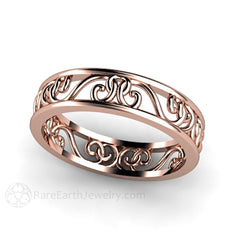 Rare Earth Jewelry Wedding Band or Anniversary Ring Rose Gold 14K Filigree Design