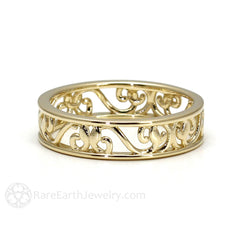 Rare Earth Jewelry Filigree Scroll Anniversary Band Vintage Stackable Ring 14K Gold