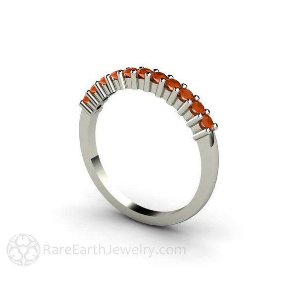 Fire Opal Stacking Ring 14K White Gold Stackable Band Rare Earth Jewelry