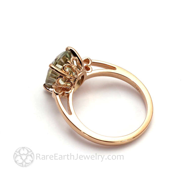 Fleur De Lis Ring in Rose Gold Solitaire Setting