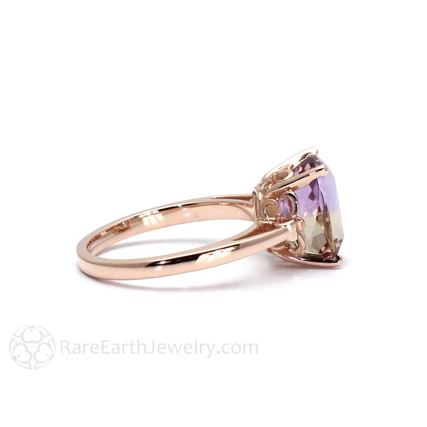 14K Rose Gold Cushion Cut Ametrine Ring Rare Earth Jewelry