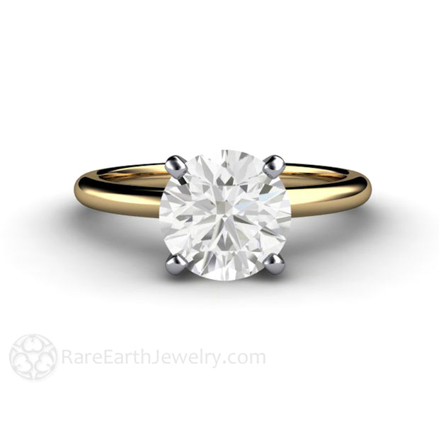 Forever One Moissanite Bridal Ring 2 Carat Diamond Alternative 14K Gold with Platinum 4 Prong Setting Rare Earth Jewelry
