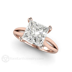 18K Rose Gold Princess Moissanite Engagement Ring Rare Earth Jewelry