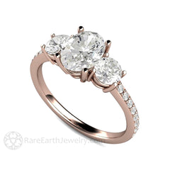 14K Rose Gold Oval Moissanite Ring Rare Earth Jewelry