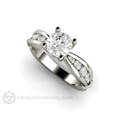 Forever One Moissanite Wedding Ring Euro Shank Diamond Setting 1ct Solitaire Round Cut Rare Earth Jewelry