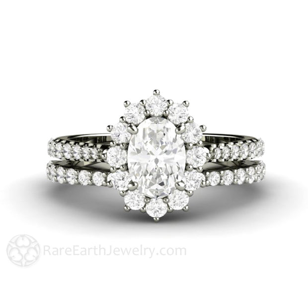 Rare Earth Jewelry Oval Halo Moissanite Engagement Ring Platinum Pave Diamond Accented Setting