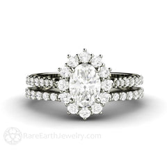 Oval Halo Moissanite Engagement Ring Platinum Pave Diamond Accented Setting Rare Earth Jewelry
