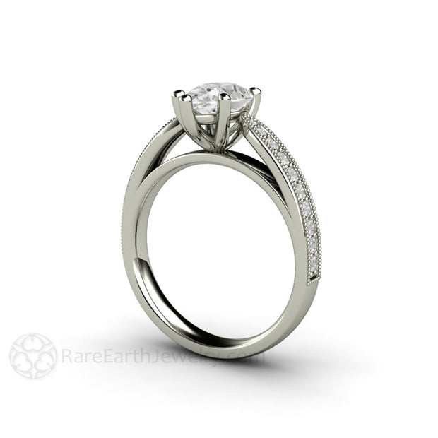 Rare Earth Jewelry Pear Cut Moissanite Bridal Ring Diamond Alternative Engagement 14K Gold