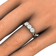 Forever One Moissanite Round Three Stone Ring on Finger Rare Earth Jewelry