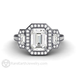 Rare Earth Jewelry Emerald Cut Moissanite 3 Stone Halo Engagement Ring 14K or 18K White Gold