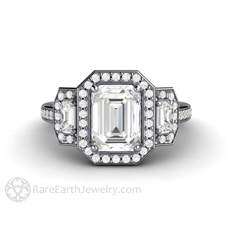 Moissanite Engagement Ring 3 Stone Emerald Cut Halo