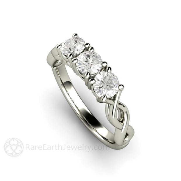 Forever One Moissanite Engagement Ring Round Cut Infinity Twist Rare Earth Jewelry