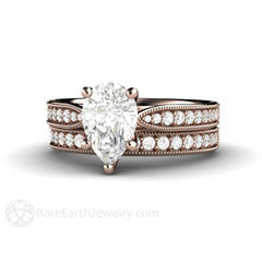 14K Forever One Moissanite Bridal Wedding Set Pear Cut Engagement Ring Rare Earth Jewelry