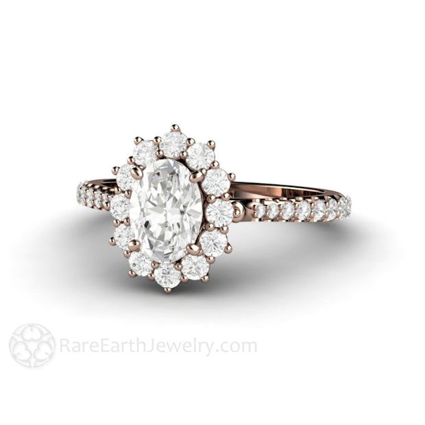 Rare Earth Jewelry 1ct Forever One Moissanite Ring Forever One 14K or 18K Rose Gold Oval Cut