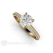 Rare Earth Jewelry 18K Solitaire Wedding Anniversary Ring 1ct Round Cut Forever One Moissanite