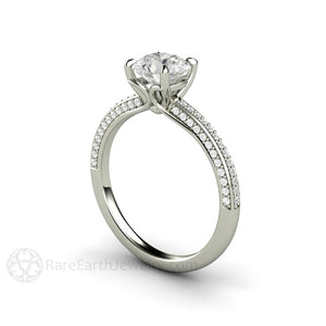 Rare Earth Jewelry 1 Carat Moissanite Solitaire Wedding Ring 14K or 18K Gold Colorless Round Cut Forever One