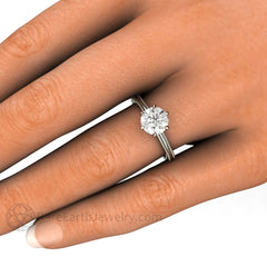 Forever One Moissanite Crown Solitaire Halo Wedding Ring on Finger Rare Earth Jewelry