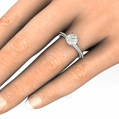 6.5mm Forever One Round Cut Moissanite Solitaire Ring on Finger Rare Earth Jewelry