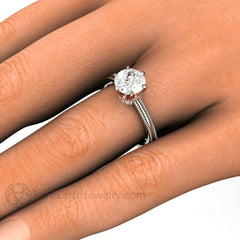 Rare Earth Jewelry Forever One Moissanite Solitaire Crown Halo Engagement Ring