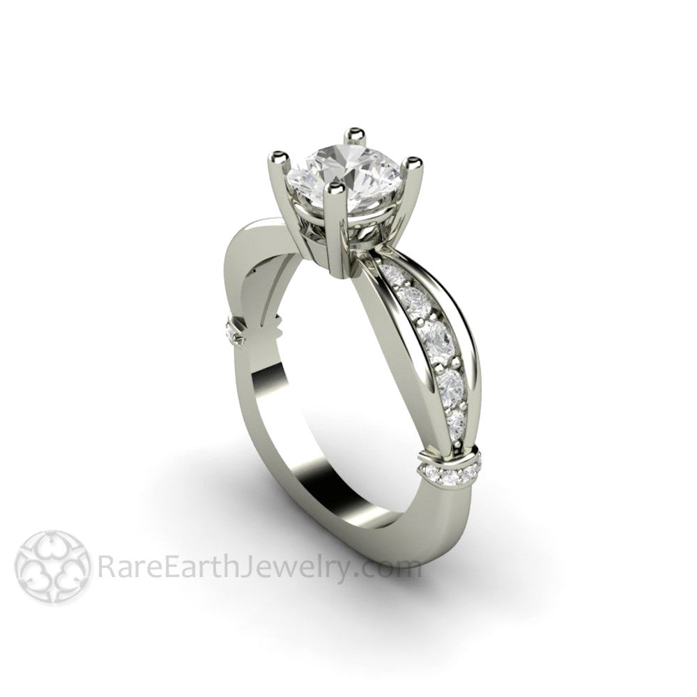 1ct Round Cut Moissanite Solitaire Anniversary or Engagement Ring 14K Gold Rare Earth Jewelry