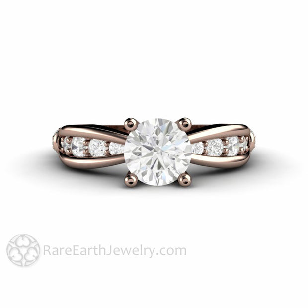 1ct Round Forever One Moissanite Bridal Ring Rose Gold EuroShank Setting Rare Earth Jewelry