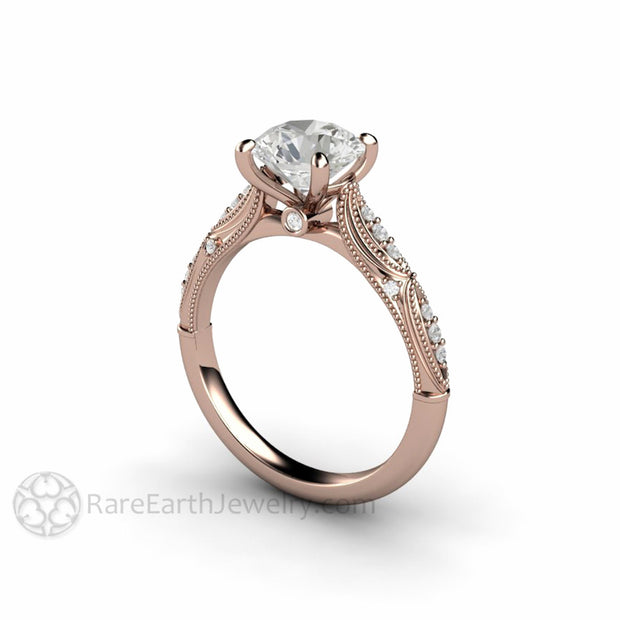 Rare Earth Jewelry Moissanite Engagement Ring Vintage Art Deco with Diamonds and Milgrain Accents 14K Gold