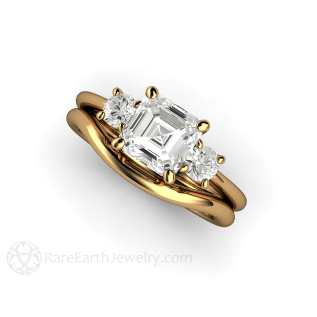 Rare Earth Jewelry Moissanite Wedding Ring Set and Bridal Band 3 Stone Asscher with Side Stones 18K Gold