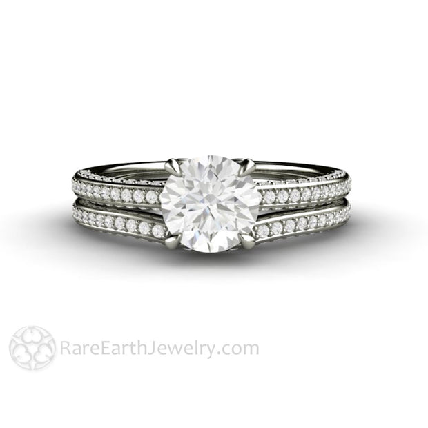 Rare Earth Jewelry Moissanite Wedding Ring Set 1 Carat Round Engagement with Pave Diamond Bridal Band