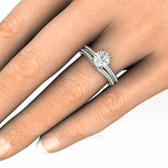 Round Cut Forever One Moissanite Bridal Set on Finger Rare Earth Jewelry