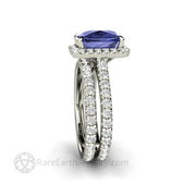 French Pave Diamond and Tanzanite Bridal Set Eternity Style