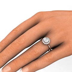 Rare Earth Jewelry GIA Certified Diamond Halo Bridal Ring on Finger
