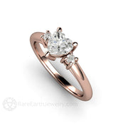 Rare Earth Jewelry Diamond Ring Heart Shaped Rose Gold Promise or Engagement