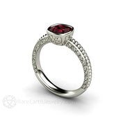 Cushion Rhodolite Garnet Ring January Birthstone 14K White Gold Rare Earth Jewelry